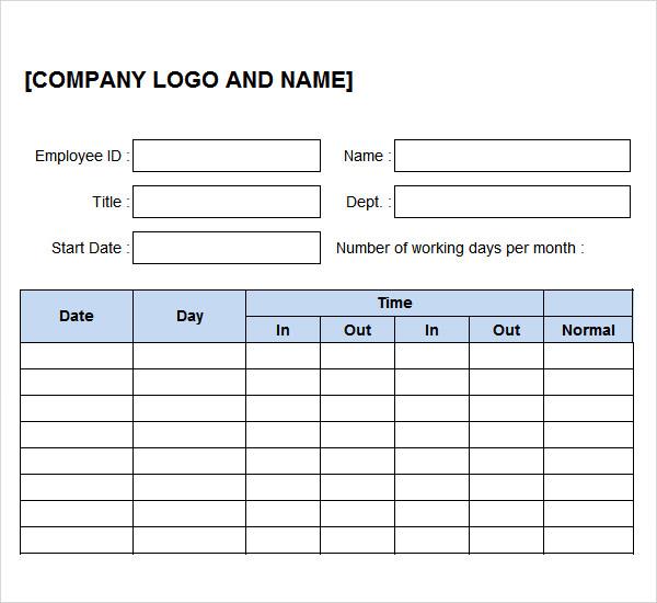 11+ Time Log Templates - PDF, Word