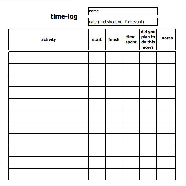 free time log sheets - Canasbergdorfbib