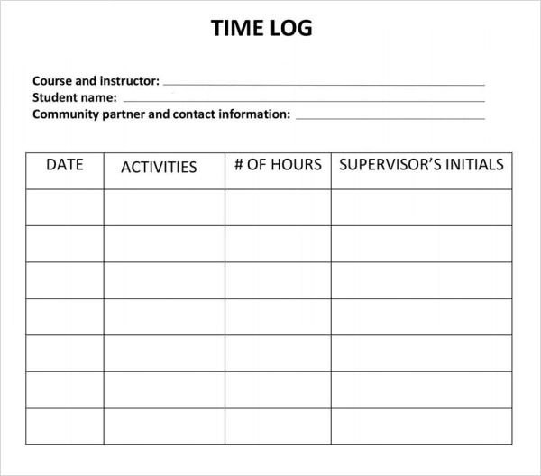 Time Log Sample  Resume Template Sample