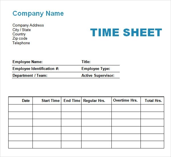 11+ Time Log Templates - PDF, Word