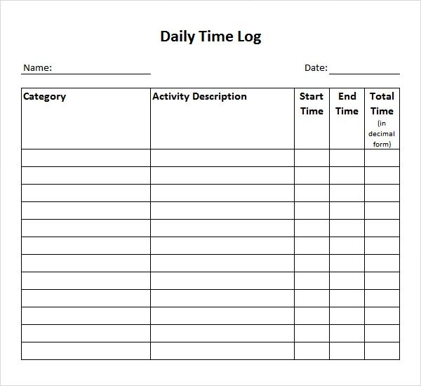Time Log Template - 10+ Download Documents in PDF , Word - time log sample