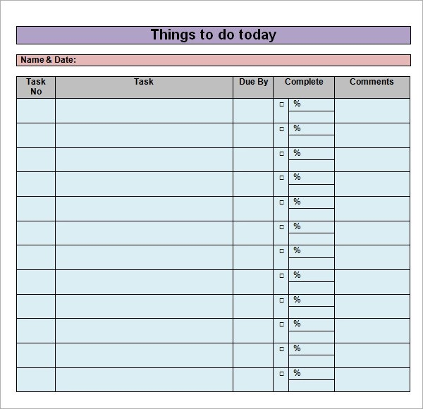 17 Sample To Do List Templates Download for Free Sample Templates