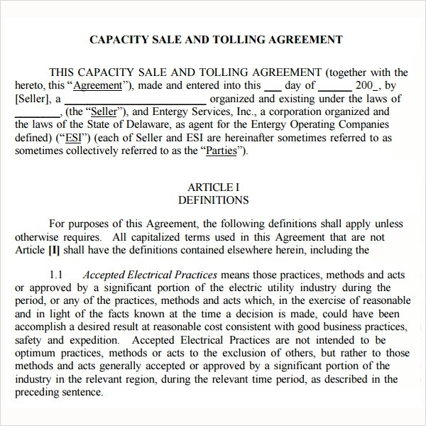 Doc600550 Sample Tolling Agreement Tolling Agreement 5 Free – Tolling Agreement Template