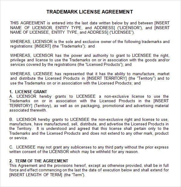 28+  Trademark License Agreement Template  Trademark License - sample licensing agreement