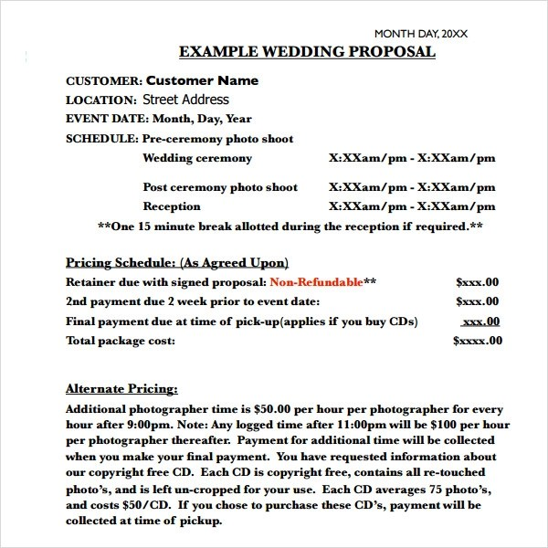 marriage proposal template - Free Sample Business Proposals