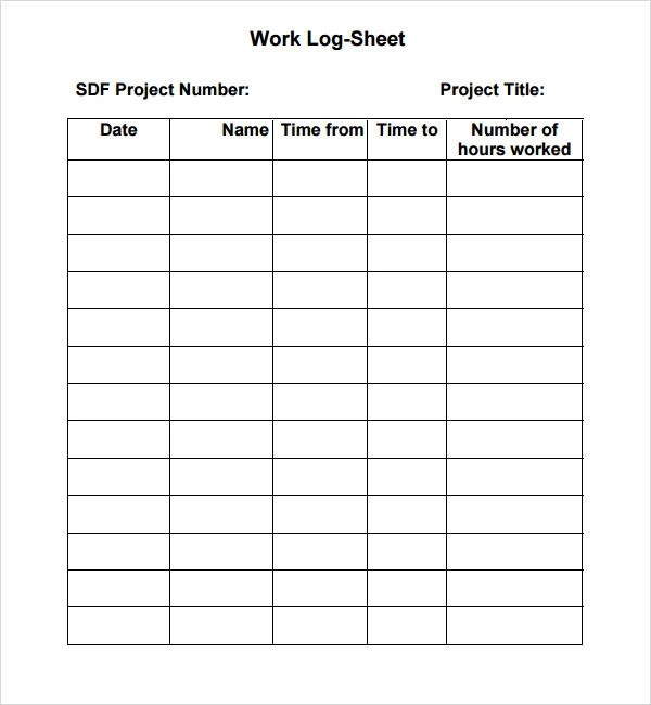 6 Sample Printable Work Log Templates Sample Templates