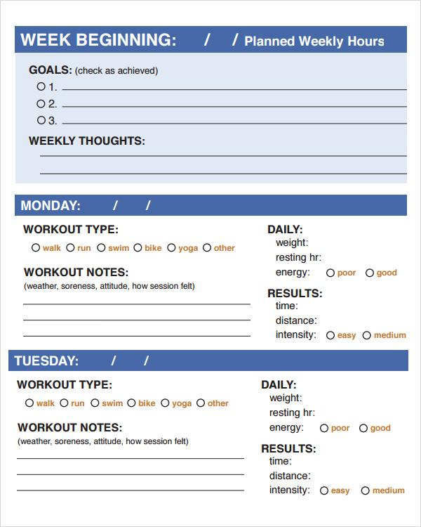 9+ Workout Log Templates Sample Templates - Weight Training Log Template