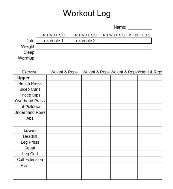 9+ Workout Log Templates Sample Templates - printable workout sheet