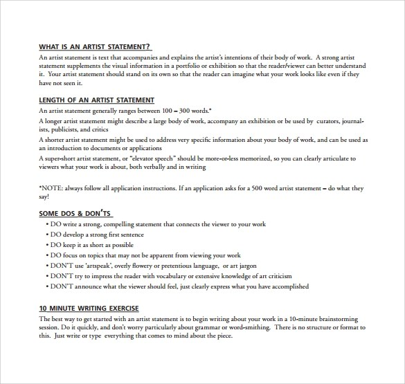 artist statement template - 28 images - artist statement template 9 - statement form in pdf