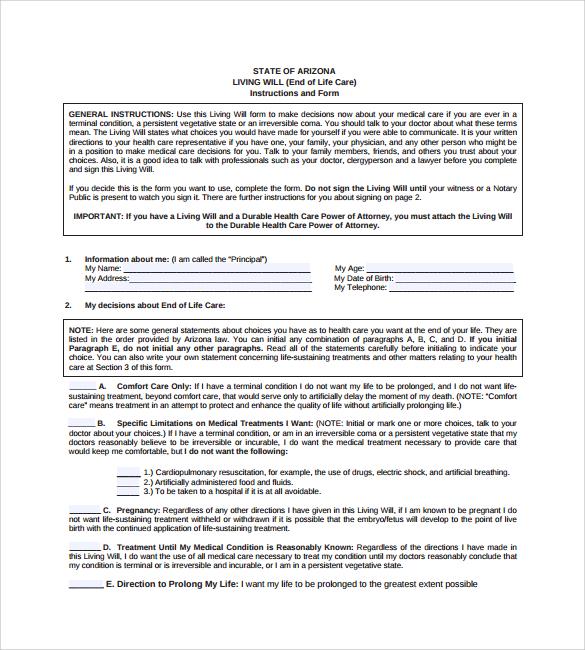 9+ Sample Living Wills - PDF