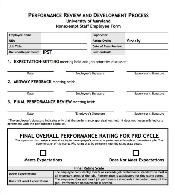 8+ Employee Review Templates \u2013 PDF, Word, Pages Sample Templates