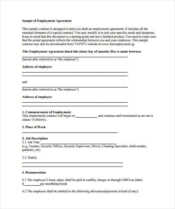 15 Useful Sample Employment Contract Templates to Download Sample - temporary employment contract