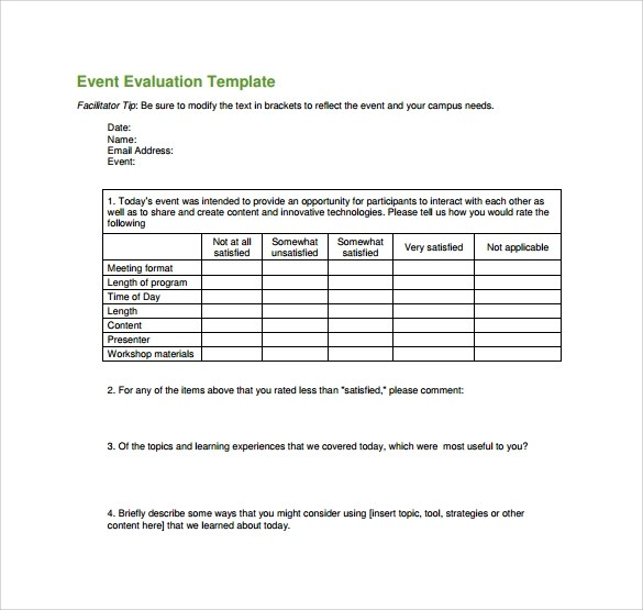 event evaluation form template - Meeting Evaluation Form