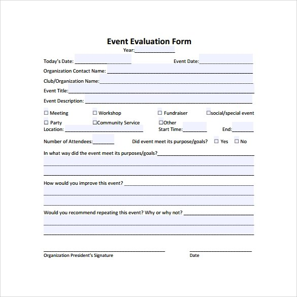 Event Evaluation Sample - 9+ Documents in PDF, Word, Excel - evaluation template