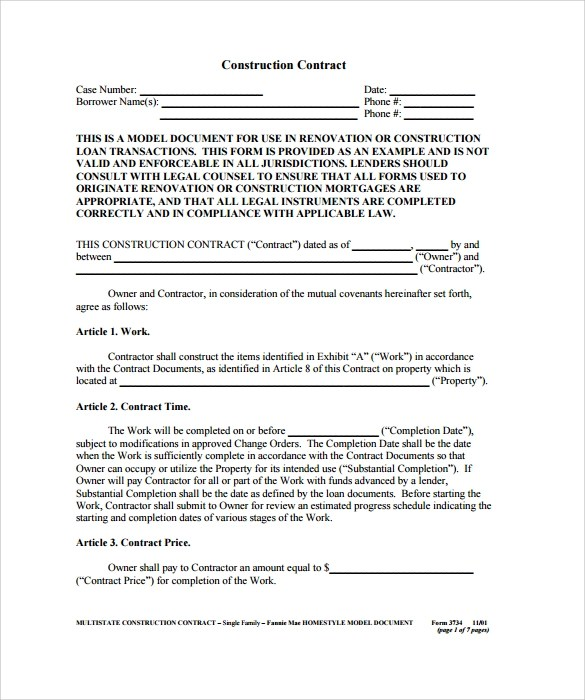 Construction Contract - 9+ Download Documents in PDF - free construction contracts