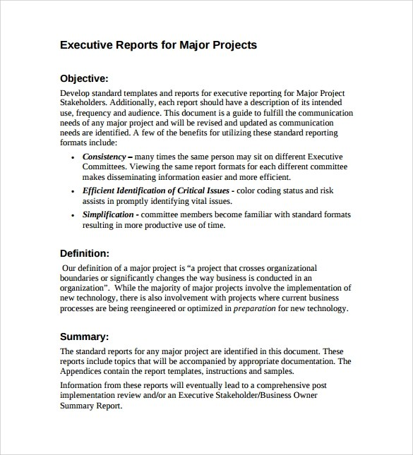 7+ Sample Executive Report Templates Sample Templates