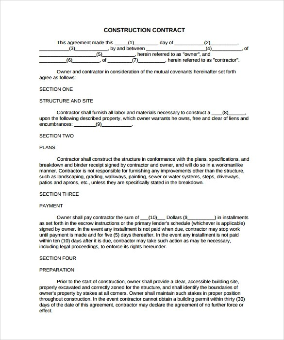 10+ Construction Contract Templates - PDF, Word, Pages