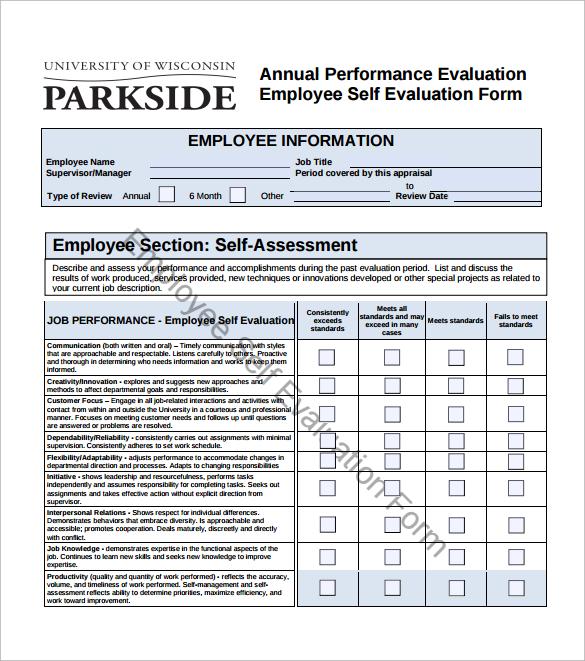 employee self assessment questionnaire