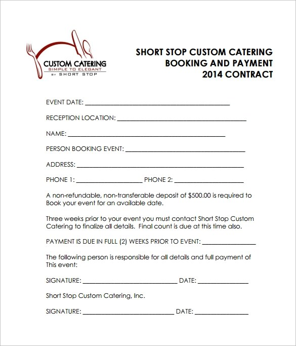 15+ Sample Catering Contract Templates \u2013 PDF, Word, Apple Pages - contract word