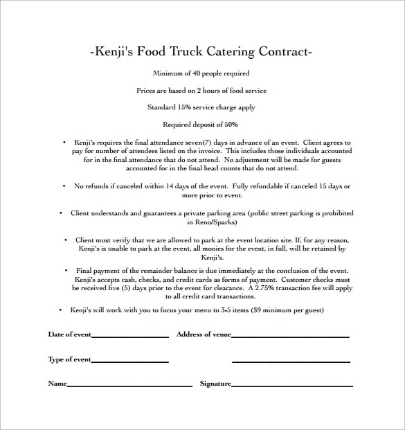 PDF food truck rental agreements (28 pages) - food truck rentals - parking agreement template