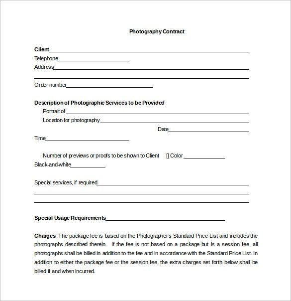 Photography Contract Template Lovely Photographer Contract Template - Photography contract template free