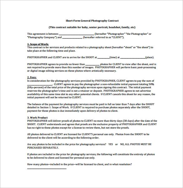 photography sample contract
