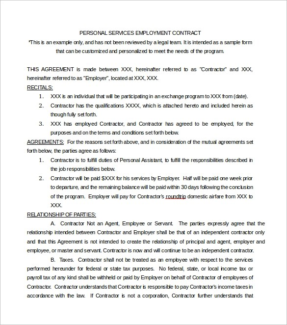 14 Sample Service Contract Templates to Download Sample Templates - employment contract free template
