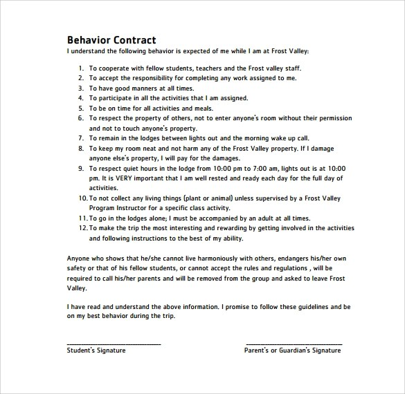 Behavior Contract Template Word  Create Professional Resumes