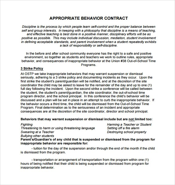 Behavior Contract Template High School | Create Professional