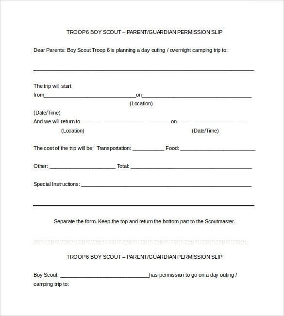 Permission Slip Template  OutOfDarknesspermission Slip Template