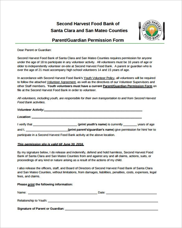 Youth trip permission slip template - visualbrainsinfo - permission slip template