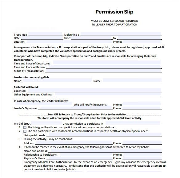 permission slip template - background check consent forms