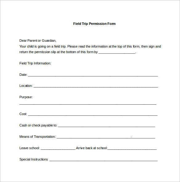 15+ Permission Slip Samples Sample Templates - permission form template