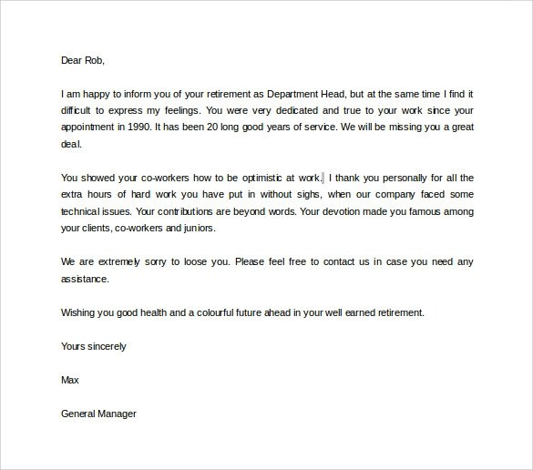 retirement letters to employer - Onwebioinnovate - retirement letters