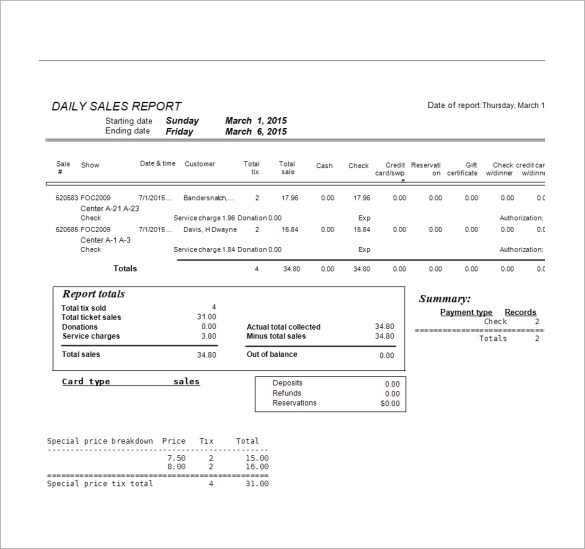 sales daily report format