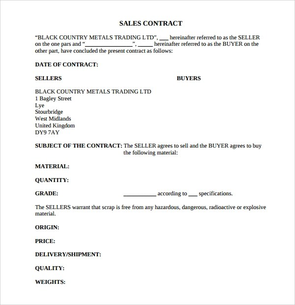 8+ Sales Contract Templates Sample Templates