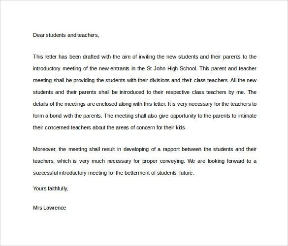 30 Sample Introduction Letters to Download for Free Sample Templates - Teacher Letters To Parents