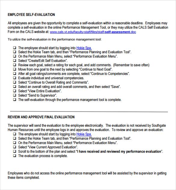 Self Performance Evaluation Samples - sample manager evaluation
