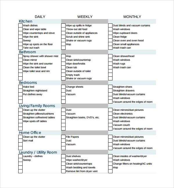 7+ House Cleaning Checklist Templates \u2013 PDF, DOC Sample Templates - housekeeper cleaning checklist