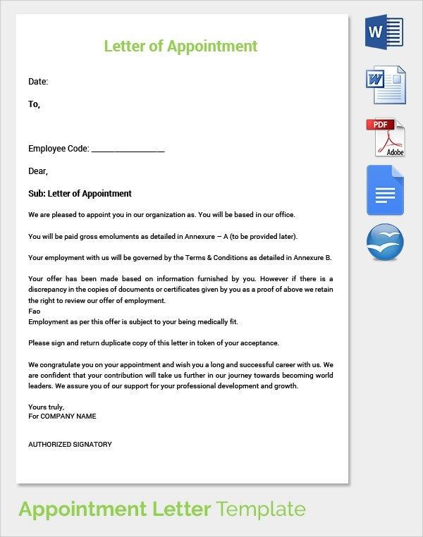29 Sample Appointment Letters to Download Sample Templates - appointment template free
