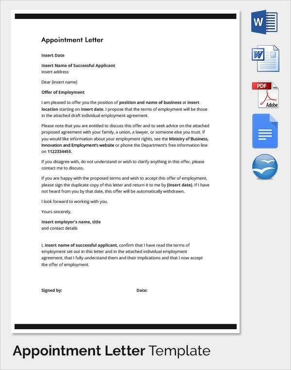 Short Appointment Letter Format Image collections - letter format