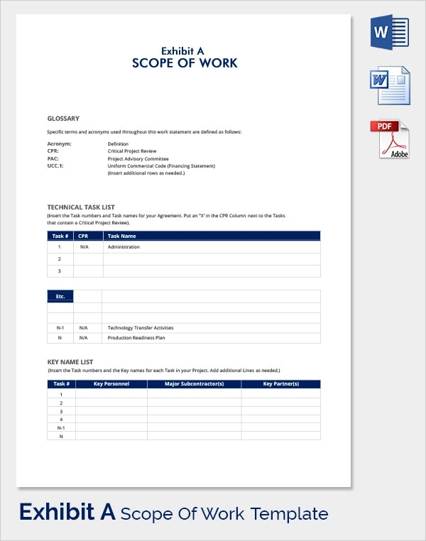 23 Sample Scope of Work Templates to Download Sample Templates - work templates