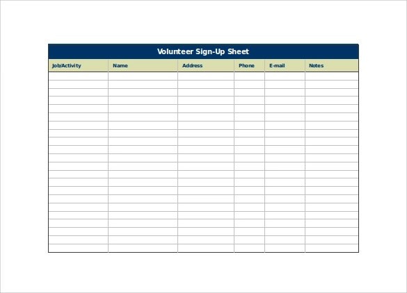 Sign Up Sheet Template - 20+ Download Free Documents in Word, PDF - email sign up sheet template word