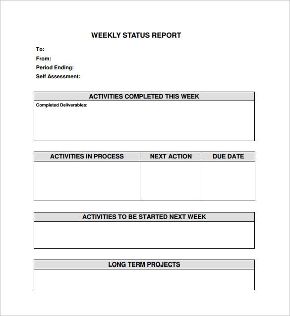 activity status report template