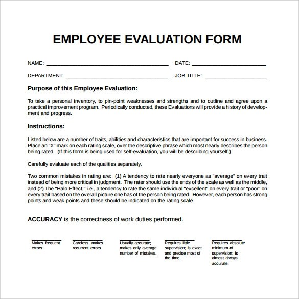 41+ Sample Employee Evaluation Forms to Download Sample Templates - hotel employee performance evaluation form