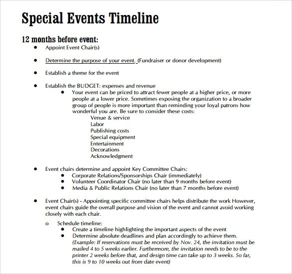10 Event Timeline Templates for Free Download Sample Templates