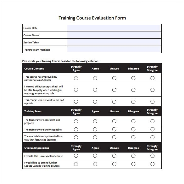 15+ Sample Training Evaluation Forms - PDF