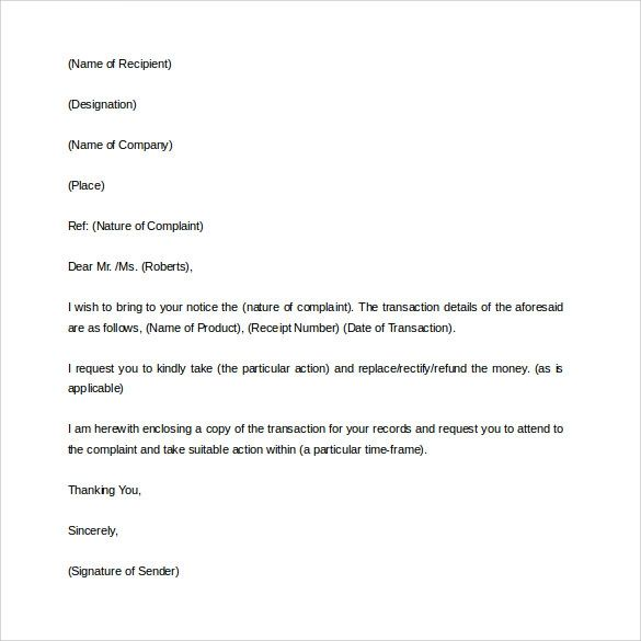 formal complaint letter template word
