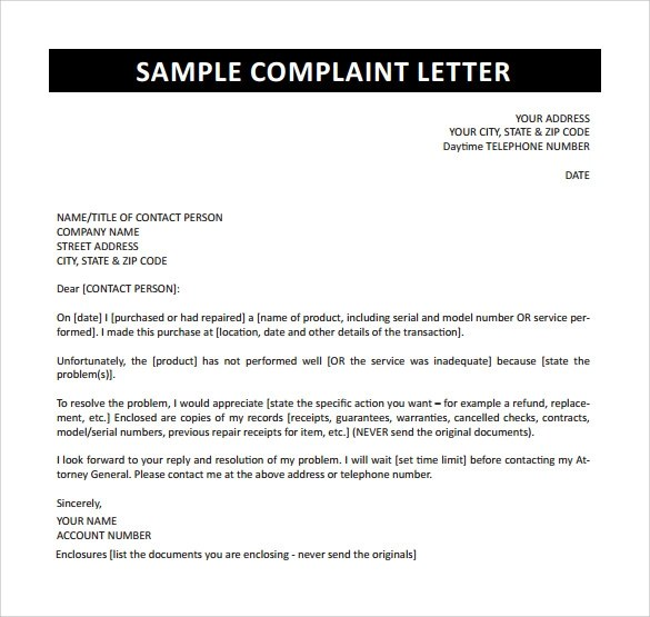 Complaint Letter - 16+ Download Free Documents in Word, PDF - example complaint letter