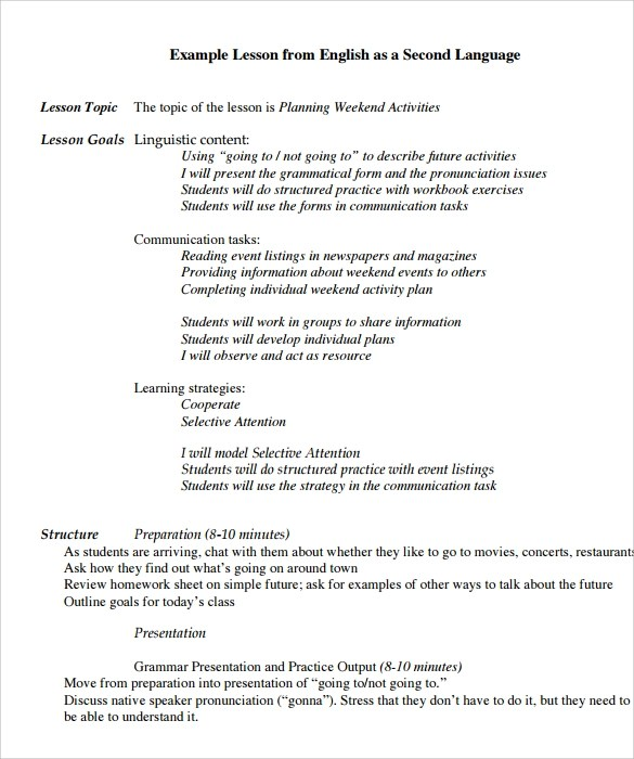 10 Sample Preschool Lesson Plan Templates Sample Templates - sample preschool lesson plan